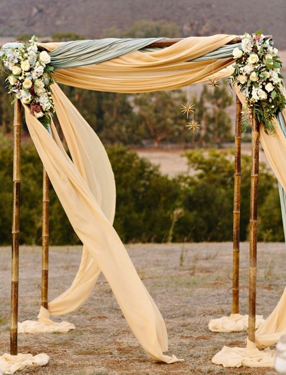Hawaiian Beach Arch Bohemian Wedding Arbor With Daisies Doors Yellow Floral Arrangement As A Ceremony Backdrop Branch And Hydrangea Simple