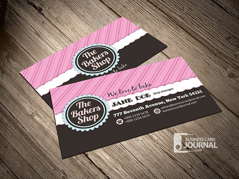 Pin By Jenn Surprenant On Business Business Card Templates Free Business Card Templates Bakery Business Cards Business Cards Layout