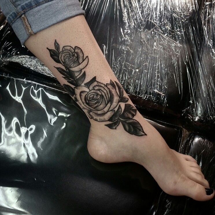 Stunning Rose Tattoo On The Ankle By Me Nate Kowalski Natekowalskitattoo Www Northpointtattoo Com I Neck Tattoo Flower Wrist Tattoos Ankle Tattoos For Women
