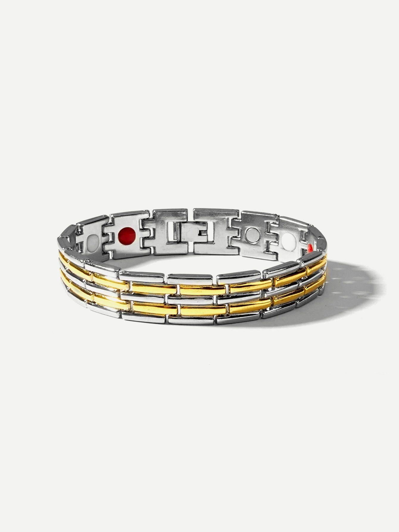 Men two tone wide magnetic bracelets in mens fashion