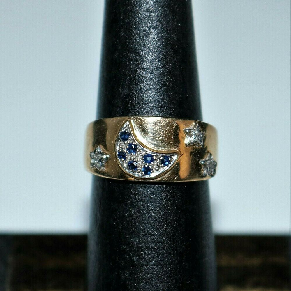 Vintage 10k Yellow Gold Blue Sapphire Diamond Crescent Moon Stars Ring Size 6 In 2020 Moon And Star Ring Diamond Crescent Moon Blue Sapphire
