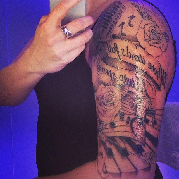 Grey Ink Rose Mic Music Notes And Piano Keys Tattoo On Half Sleeve Music Tattoo Sleeves Sleeve Tattoos Music Notes Tattoo