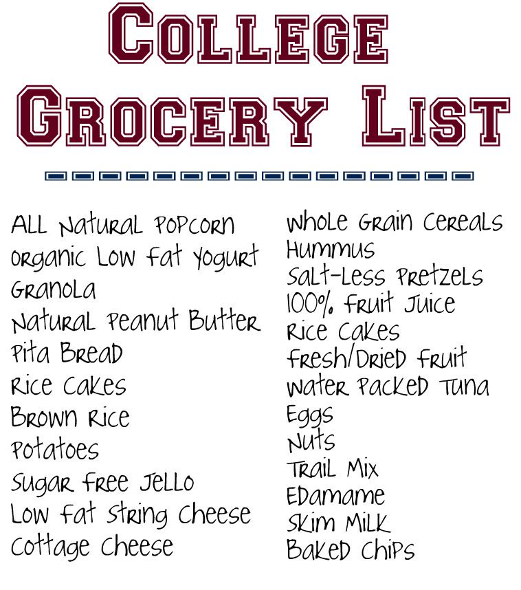 Healthy College Grocery List Maybe Add Some Goodies In There