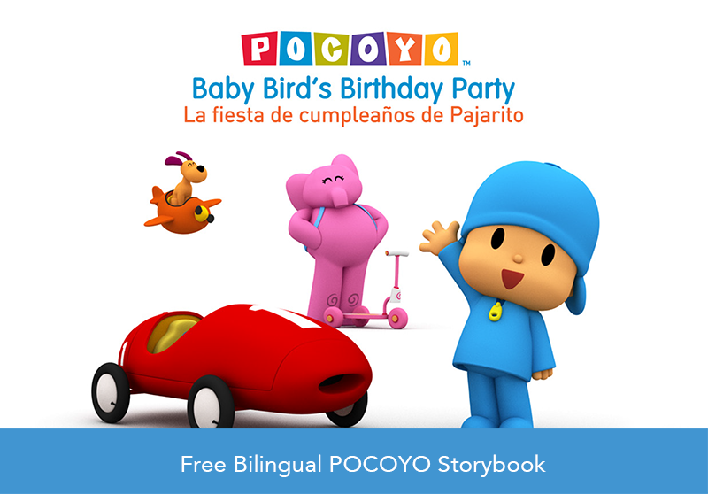 Help Pocoyo and friends make it to Baby Bird's birthday party while learning about the different modes of transportation in this free storybook by HITN's ELC. #ThingsThatGo #HITNELC #PreK #Pocoyo #Storybook #Bilingual