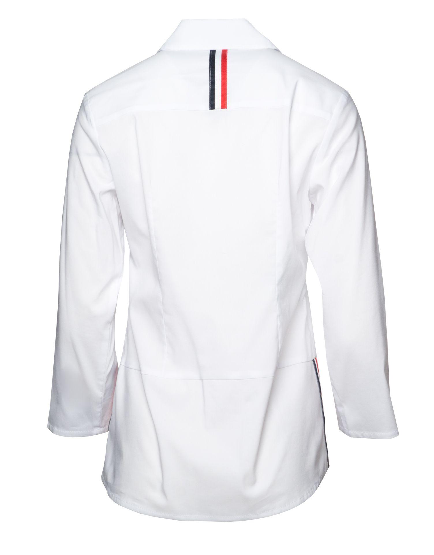 000d0c267e Nowoczesna biała bluzka z lampasami. Nowoczesna biała koszula. Koszula na  co dzień. Koszula