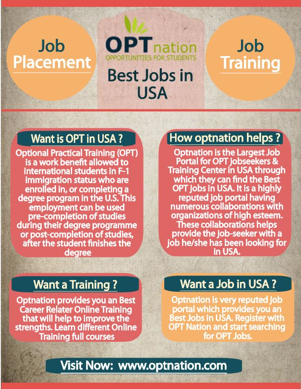 Get hired in USA Optnation provides optional practical training & jobs placement in USA. Choose your dream career and find jobs according to your desired profile within latest jobs database. Register and apply for the best jobs for you. http://www.optnation.com/