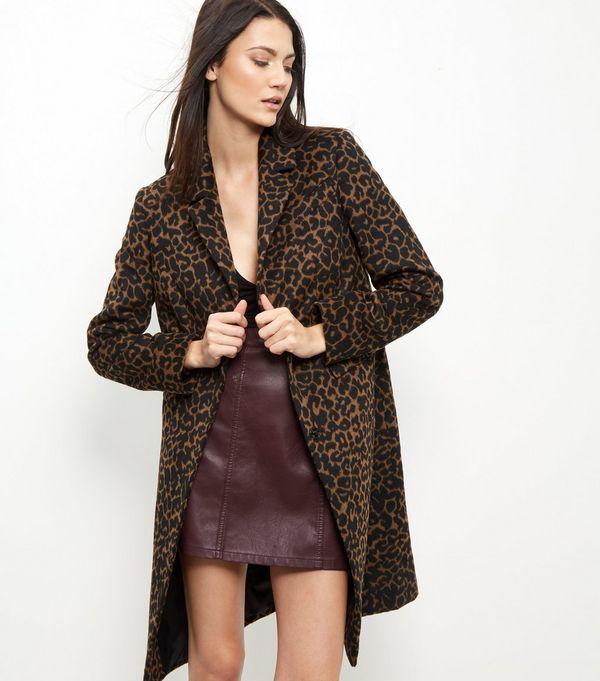 Leopard print coat style dress