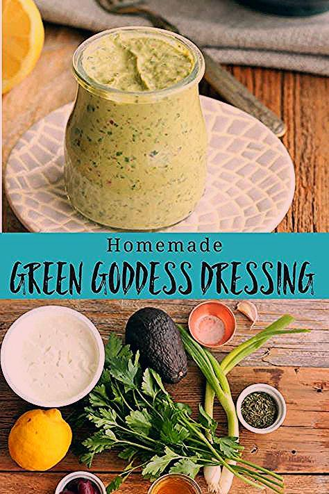 A delicious and healthy take on the classic Green Goddess Dressing recipe. Avocado and fresh herbs