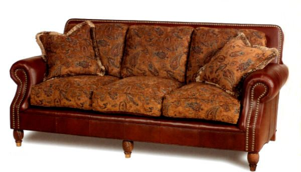 heritage leather u0026 fabric combination sofa by heirloom leather furniture