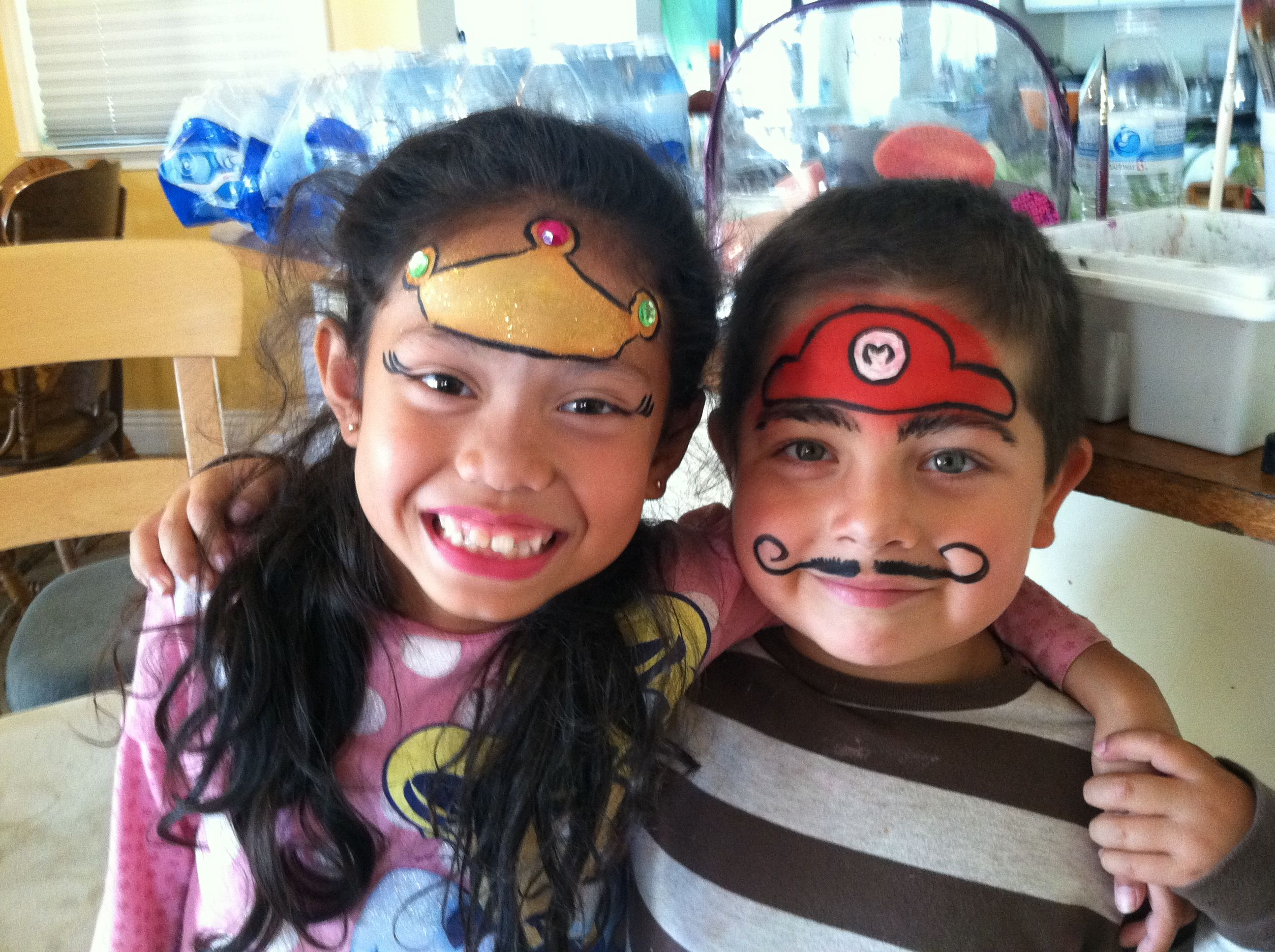princess peach and mario face paint