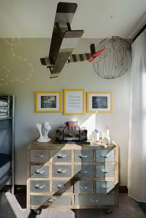 Industrial Kids Children Bedroom Dresser with Vintage Aviation Style ...