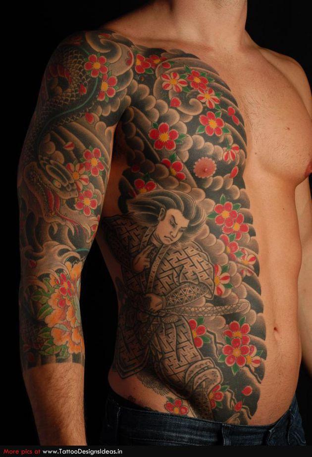 traditional japanese samurai warrior tattoo design