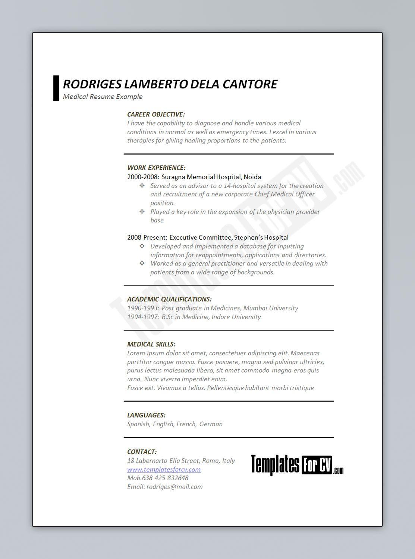 Cv Template Junior Resume Format Medical Resume Template Medical Resume Resume Examples