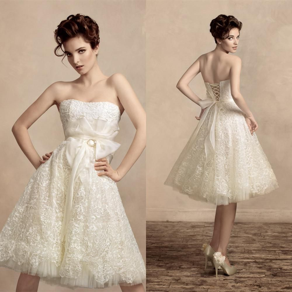 Vintage lace short wedding dresses knee lenght aline strapless