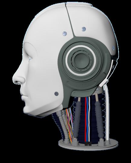 Human Robot Male Head High Poly Poly Robot Human