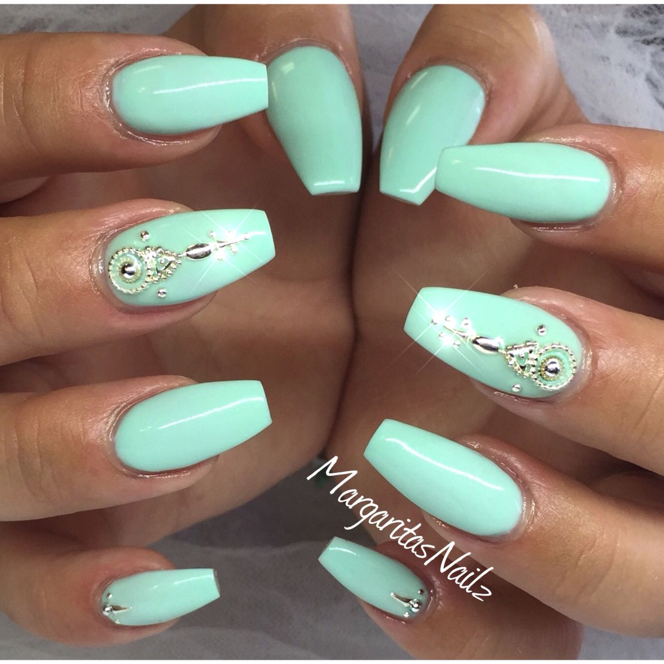 Mint Green Coffin Nails Nails Mint Green Nails Green Nails