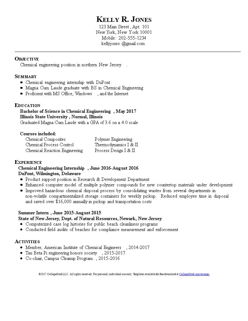 Chemical engineer phd resume