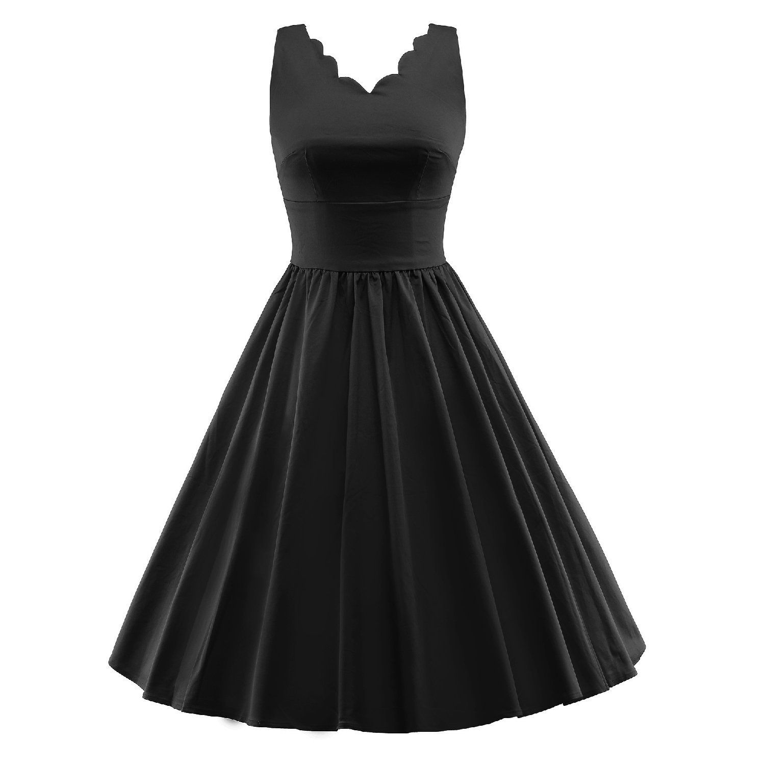 Luouse Retro V Neck Sleeveless Vintage 50 S 60 S Cocktail Party Swing Dress Unbelievable Item Fit And Flare Cocktail Dress Rockabilly Dress Vintage Dresses [ 1500 x 1500 Pixel ]