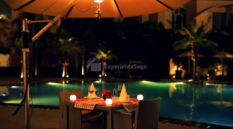 Poolside Candlelight Dinner At The Umrao Delhi In 2020 Candle Light Dinner Candlelight Outdoor Candle Lighting