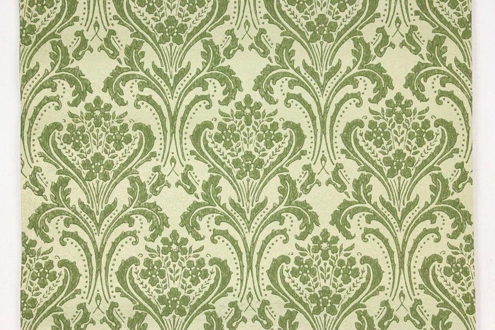 1960s Vintage Wallpaper Damask Design Green On Gold Green Vintage Wallpaper Lace Wallpaper Wallpaper Stencil