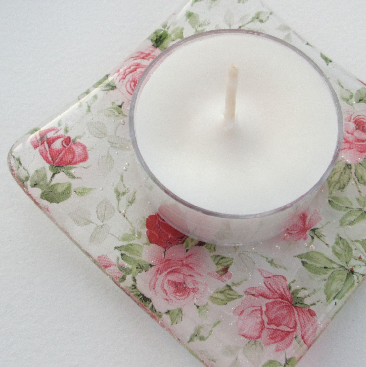 change holder shallow glass bowl spoon rest jewelry tray tealight holder candle dish teabag saucer Roses design glass trinket dish