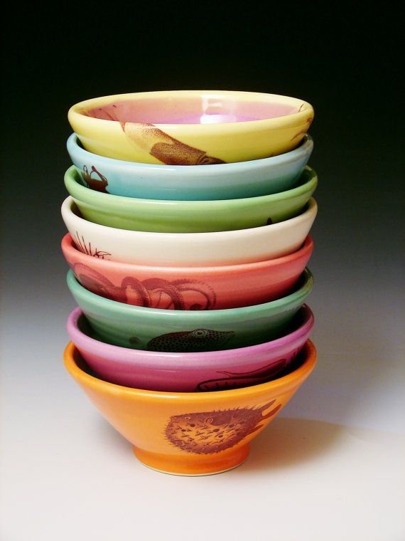 8 Custom Bowls / Made to order pottery by cephalopodink on Etsy, $256.00