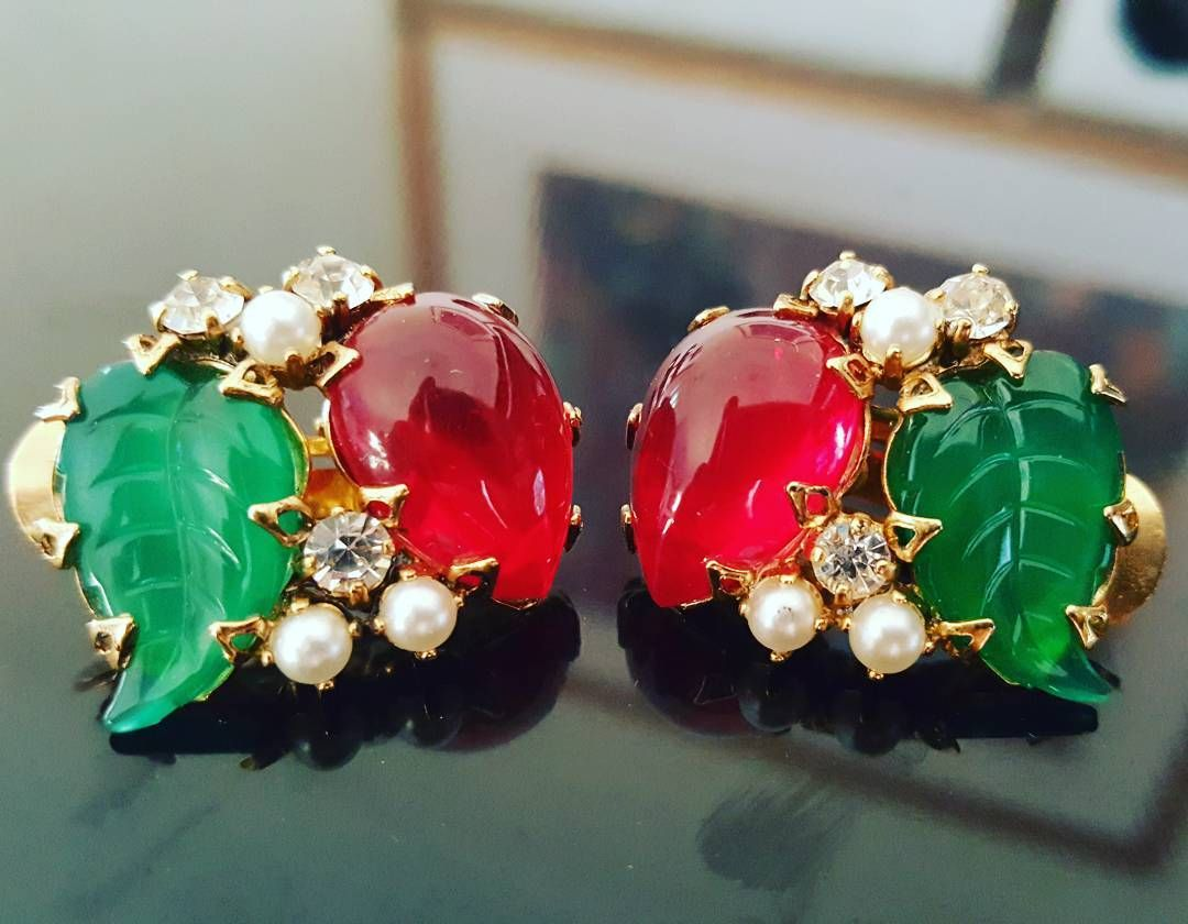 Vintage Schreiner New York Clip On Earrings vintage designer
