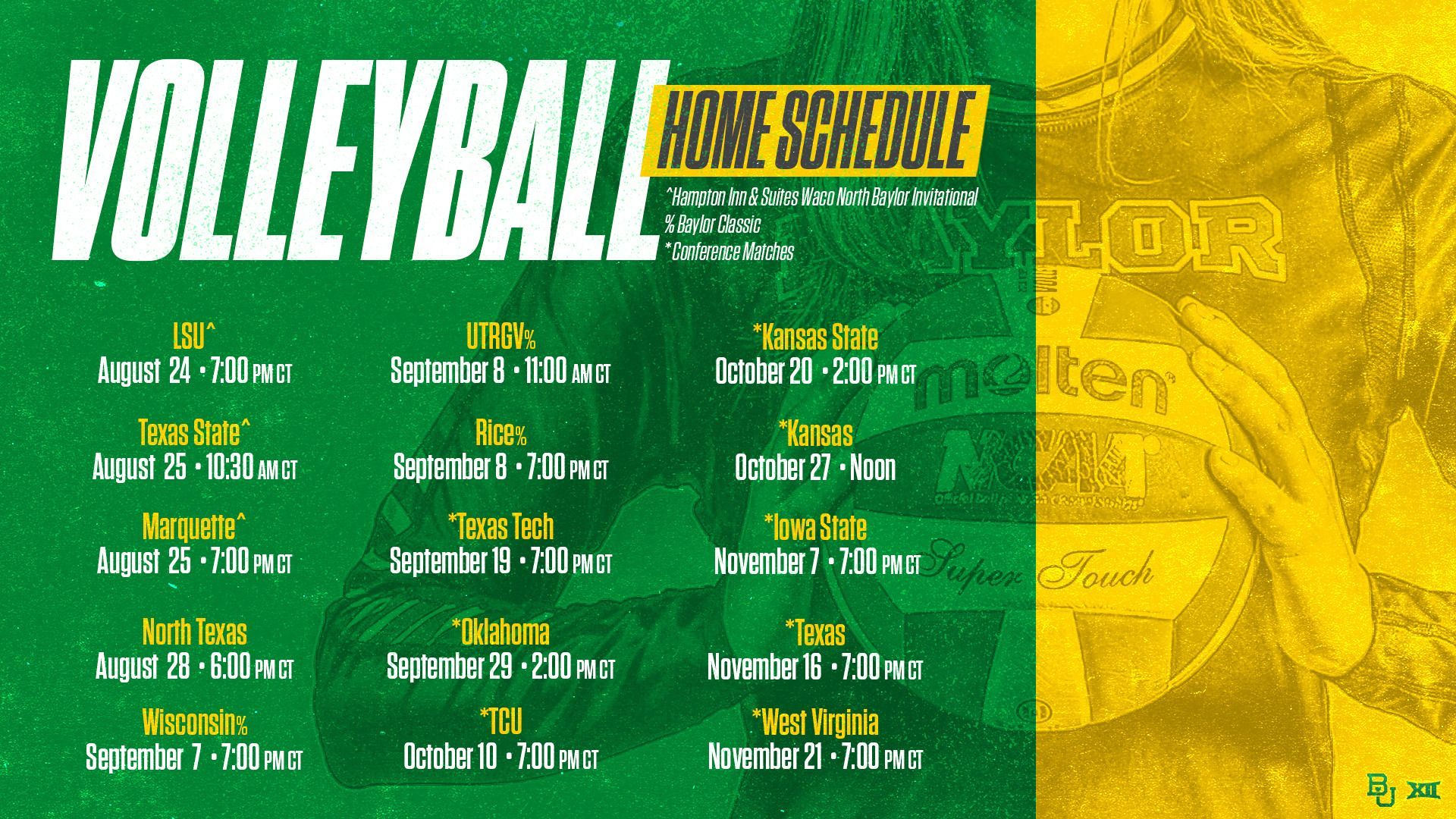 Baylor Volleyball Announces 2018 Fall Schedule Baylor University Volleyball Baylor