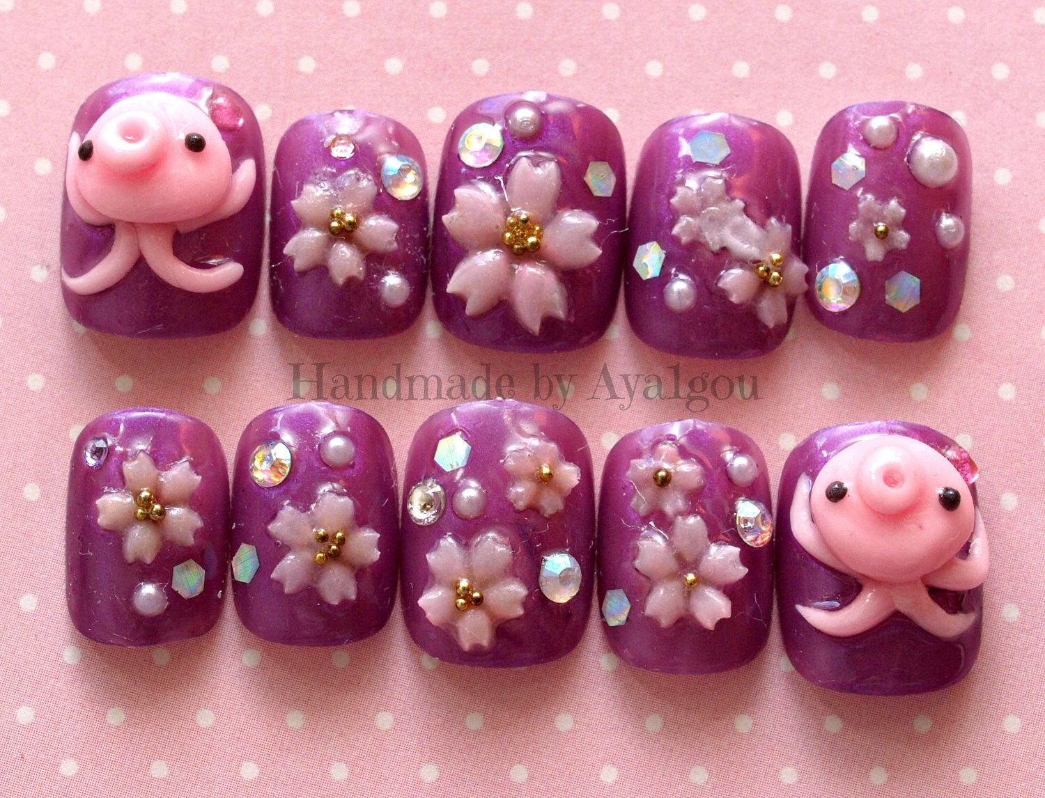 Nails, octopus, squid, 3D nails, short nail, sakura, cherry blossom ...