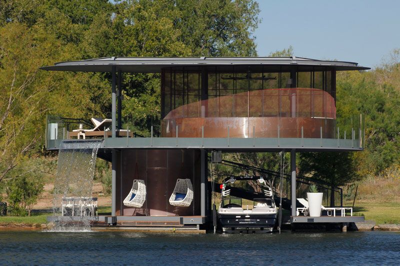 Texas Boat House By Bercy Chen Studio Small Micro Houses - Awesome floating house shore vista boat dock by bercy chen studio