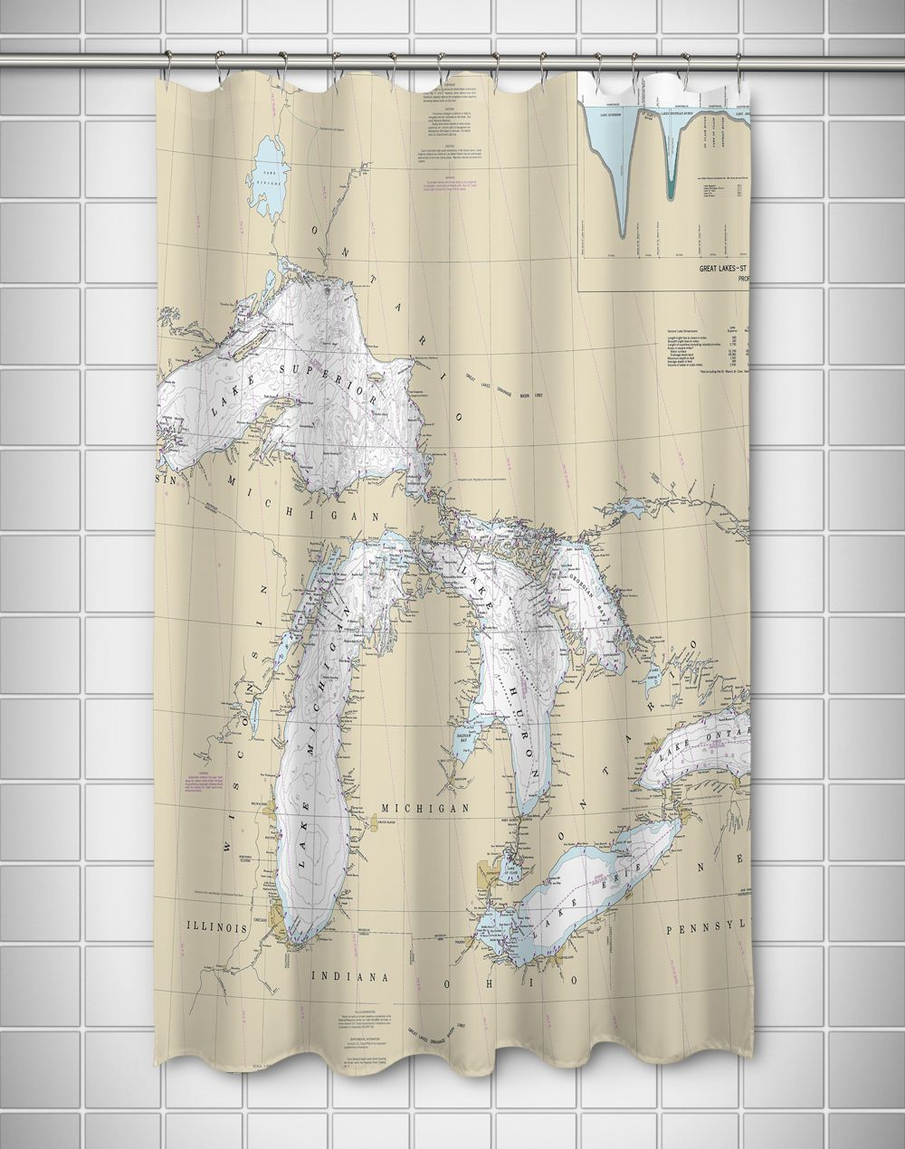 Great Lakes Nautical Chart Shower Curtain Curtains Shower Curtain Nautical Chart