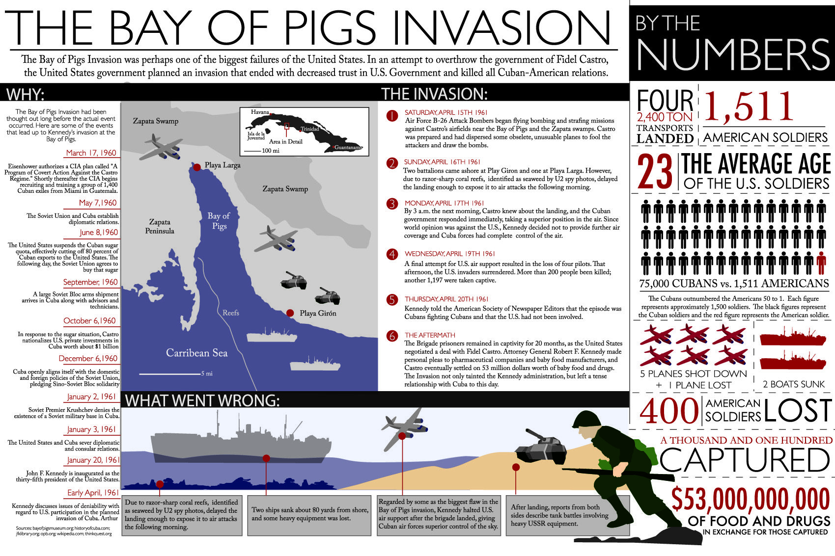 an introduction to the history of the bay of pigs invasion in the united states The bay of pigs invasion (spanish: invasión de playa girón or invasión de bahía de cochinos or batalla de girón) was a failed military invasion of cuba undertaken by the central intelligence agency (cia)-sponsored paramilitary group brigade 2506 on 17 april 1961.