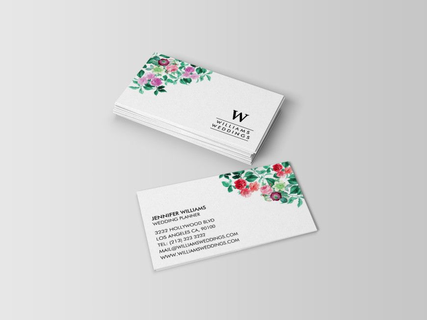 Simple Elegant Floral Business Cards for Wedding Planners and Event ...