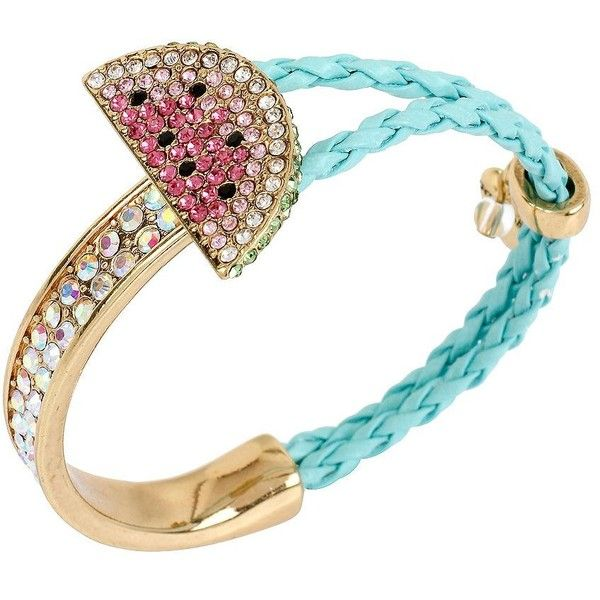 Betsey Johnson Ocean Drive Watermelon Braided Mixed Bracelet (26 CAD) ❤ liked on Polyvore featuring jewelry, bracelets, accessories, pink, drusy jewelry, betsey johnson jewelry, druzy jewelry, braid jewelry and pink bangles