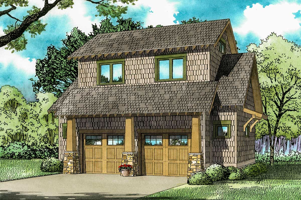 Rustic Carriage House Plan with Loft