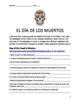 Day Of The Dead El Dia De Los Muertos Webquest With Images