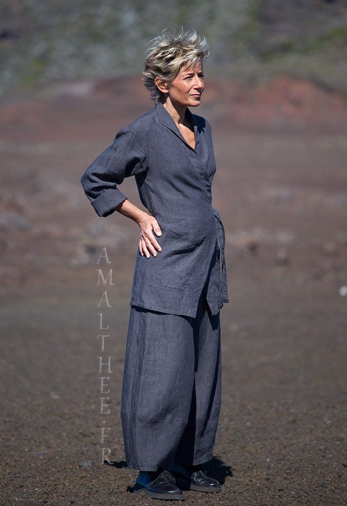 slate grey flax linen outfit for women   clothing details ... 606c196ddff2