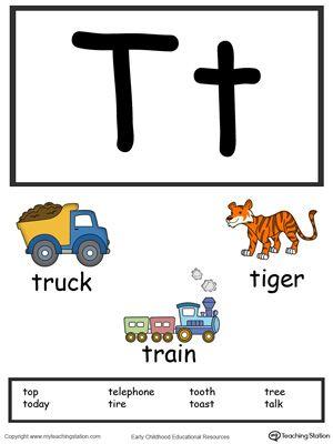 Letter T Alphabet Flash Cards For Preschoolers Letter T