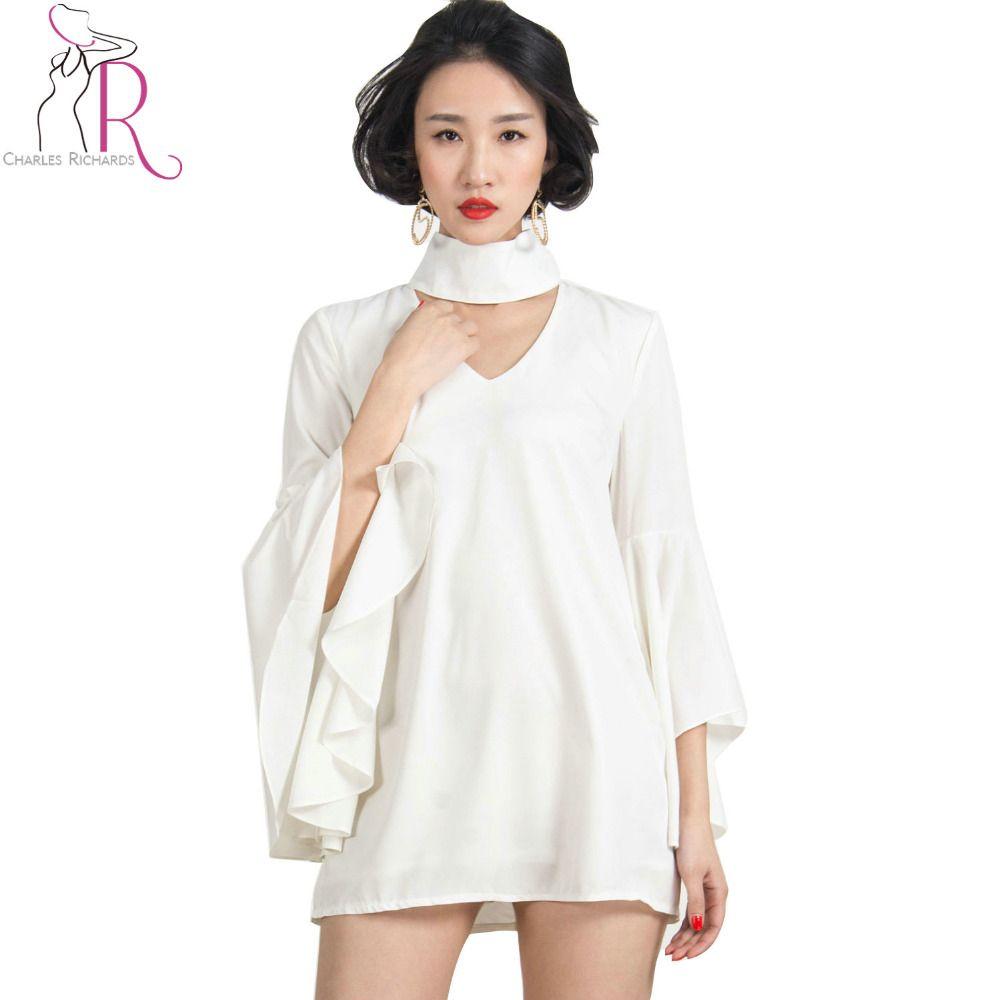 Women dress white ruffled three quarter bell sleeve shift loose v