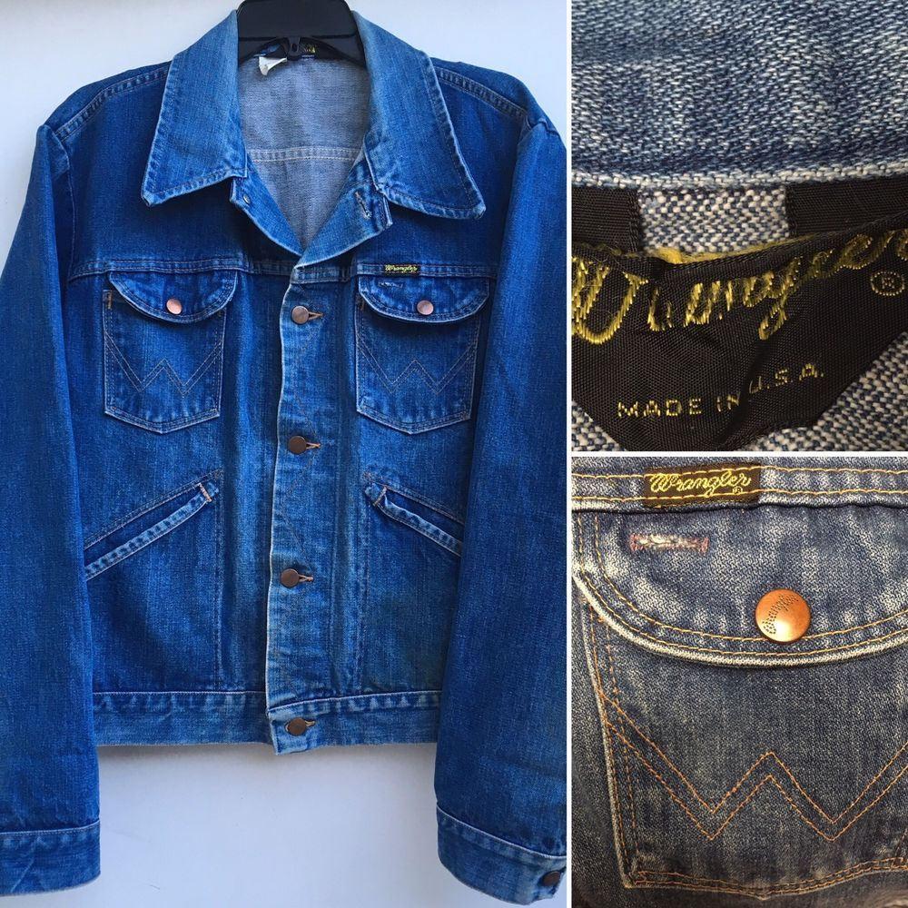 Vintage Wrangler Denim Jacket Sz 48 124mj 14 Oz Plus Sanforized Ebay Denim Jacket Vintage Wrangler Vintage Clothing Men [ 1000 x 1000 Pixel ]