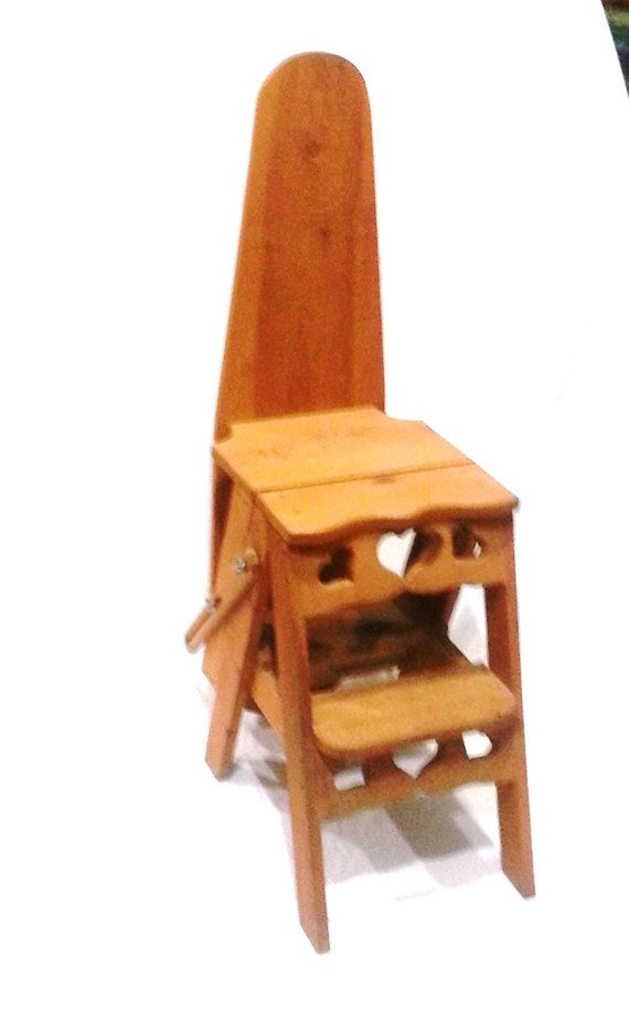 Chair Step Stool Ironing Board Directors Counter High Ladder Shelf Furniture With Hearts Country