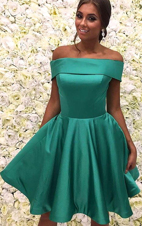 Off the Shoulder Green Short Prom Homeocming Dress Elegant Wedding ...
