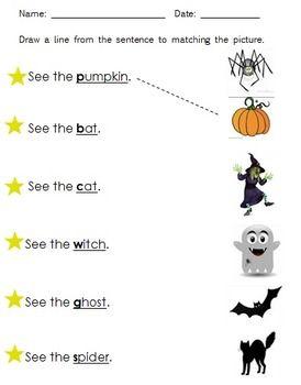 Halloween Beginning Consonant Sentence Match Kids Preschool Learning Halloween Worksheets Montessori Activities Preschool Halloween worksheets pic word matching