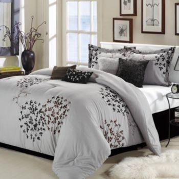 Cheila Silver Finish 8 Pc Comforter Set Bedroom