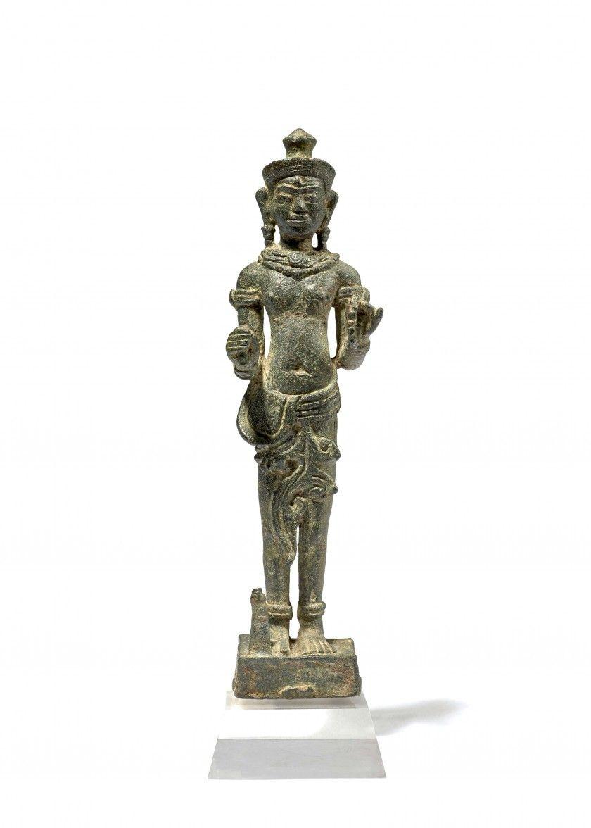 Ganesh Trompe A Droite statuette de shiva en bronze, khmer, style d'angkor vat