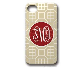 $49.95 Sand/Red Parquet Personalized iphone cover from Paper Concierge