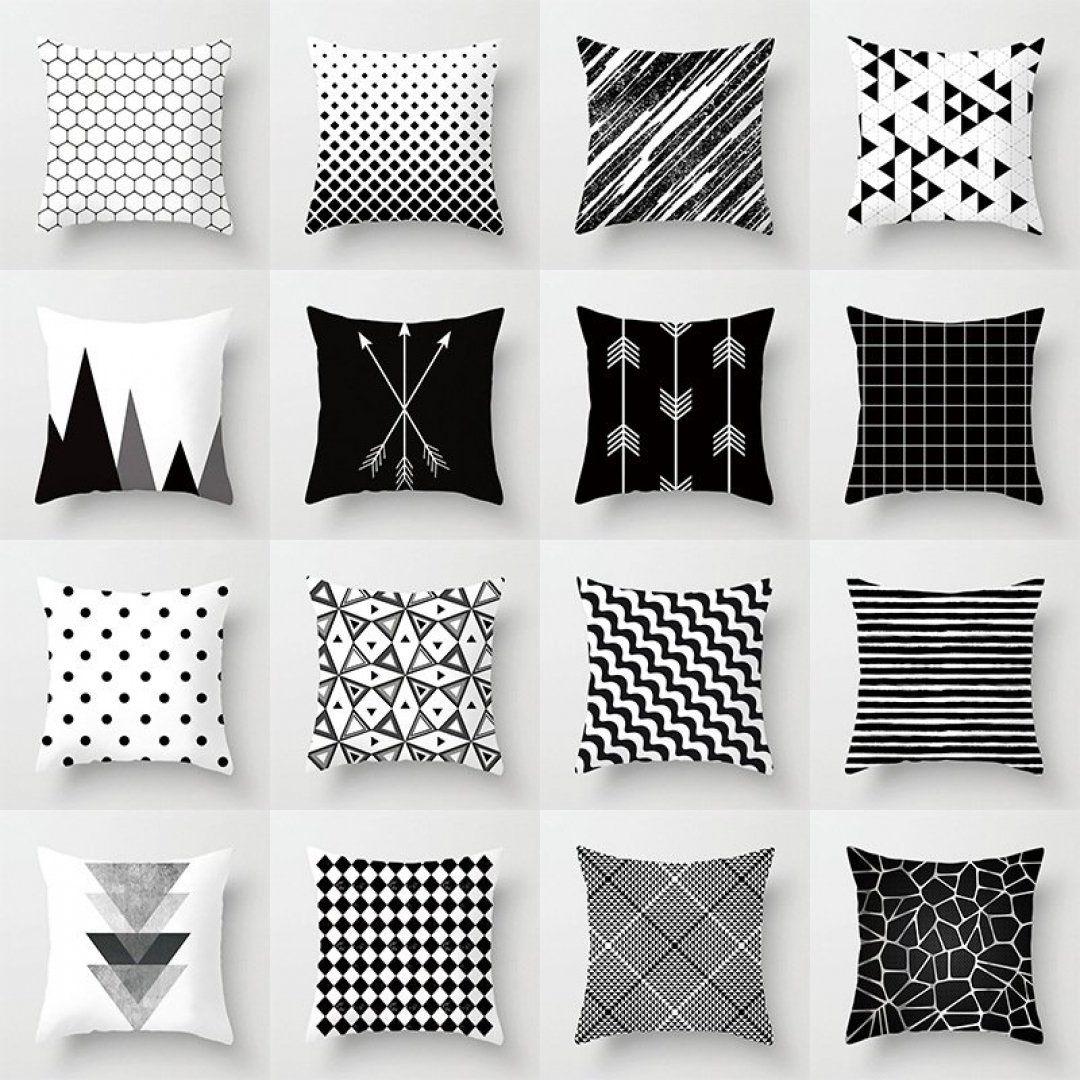 Geometric Kissenbezug Home Sofa Decor Black /& White Linen Dekokissen Fall Mode