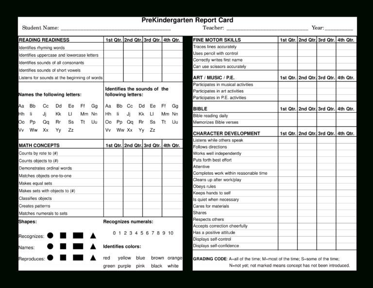 preschool report card in 2020  report card template
