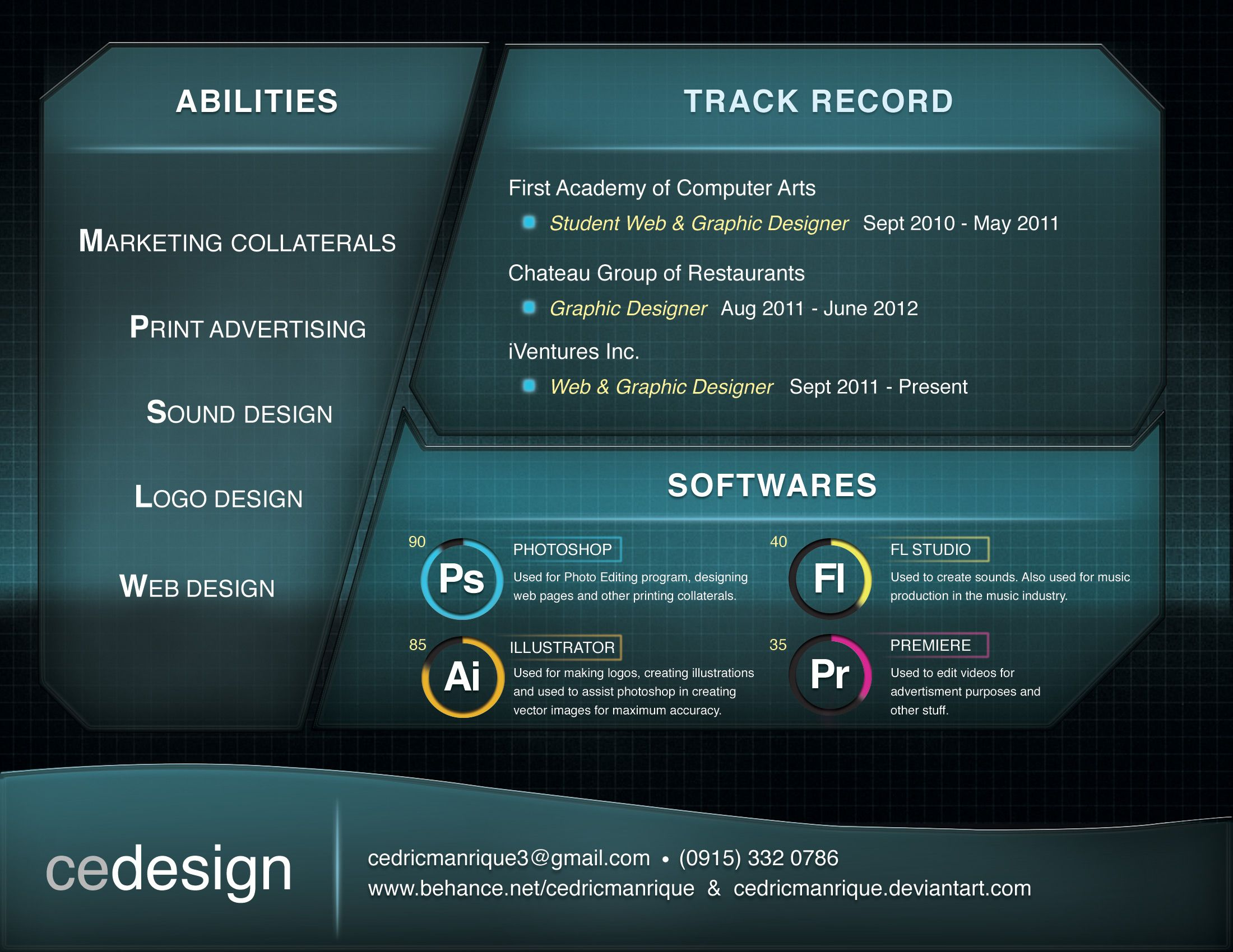 this is my third design for my resume inspired by game user