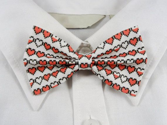Pixel Hearts Bow Tie by PixieBluebellDesigns on Etsy